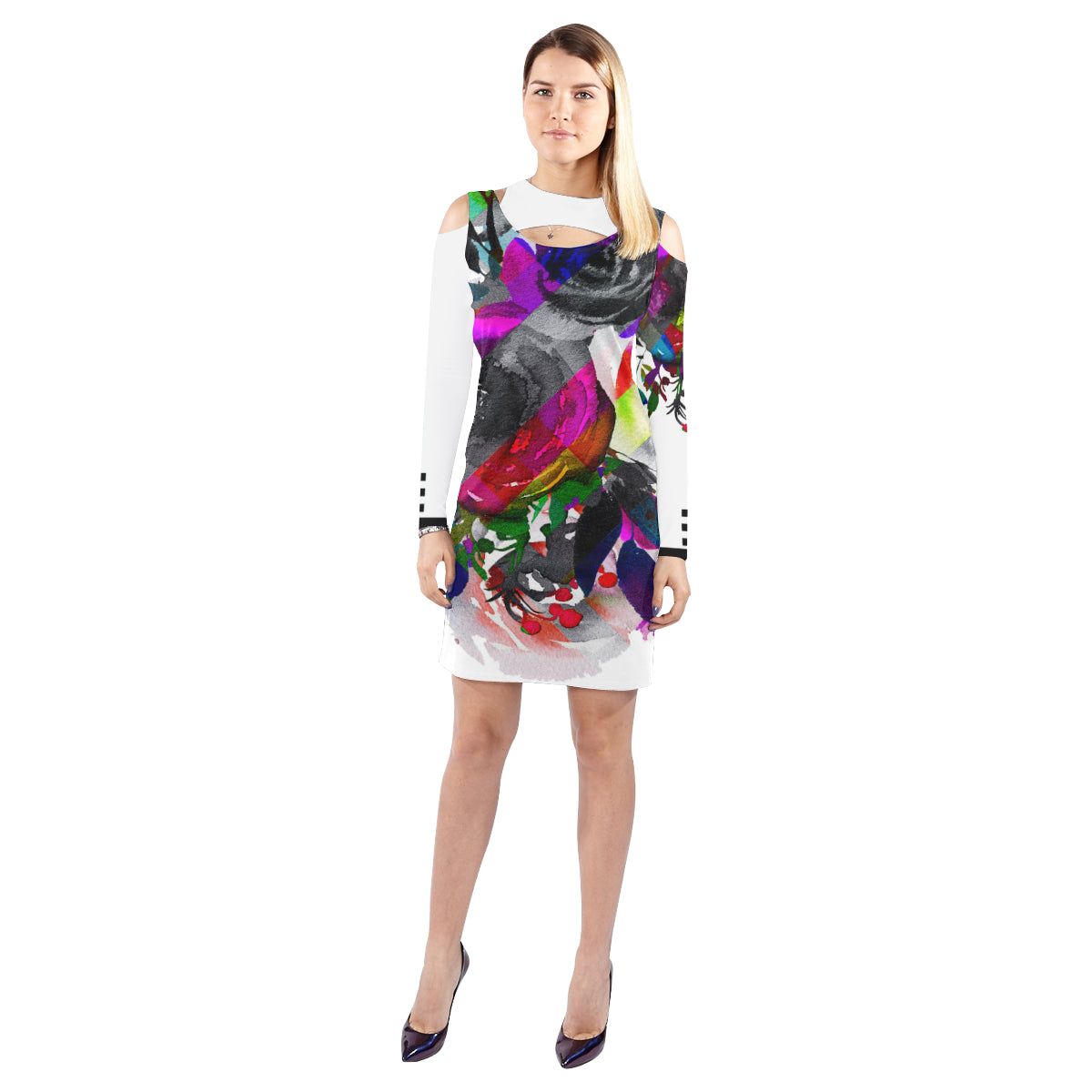 WOW | i Collection Colorful B&W Floral Halter Off Shoulder Long-Sleeve White Dress