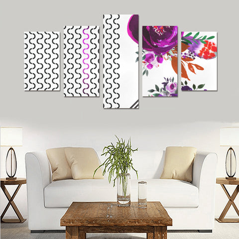 WOW | i Collection 5 Piece Colorful Floral & S-Wave Pattern Wall Art Canvas Print