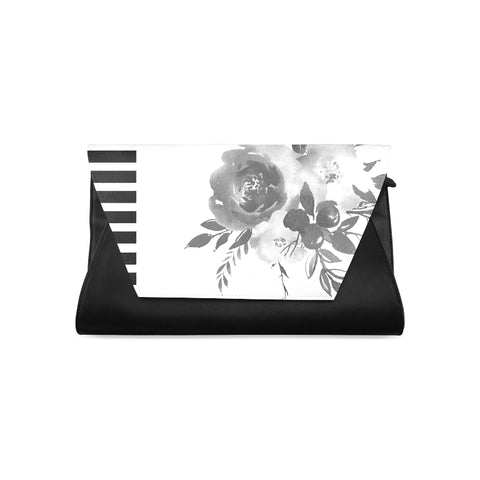 WOW | i Collection Women's Fashion B&W Floral Pattern Clutch Bag