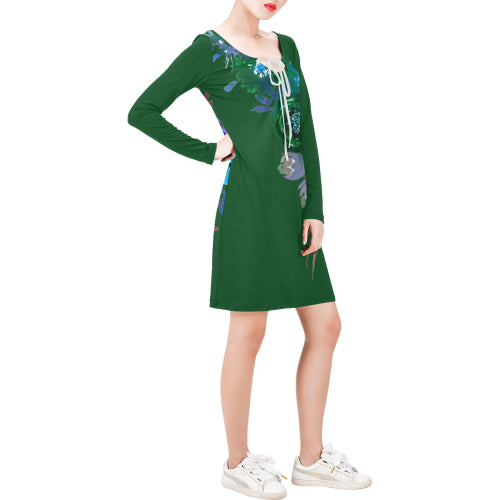 WOW | i Collection Long Sleeves Green Colorful Floral Dress