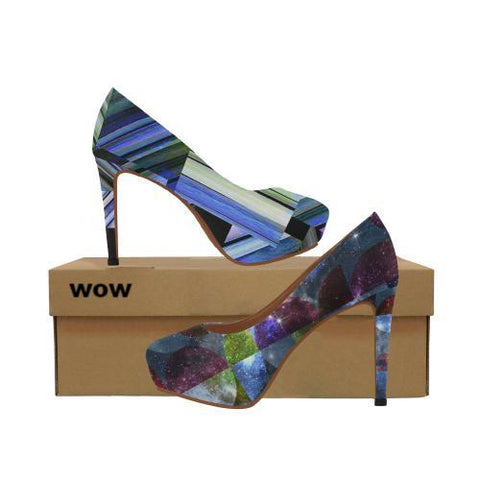 WOW | i Collection Women's High Heels Geometric Star Glaze Pattern Fashion Shoes