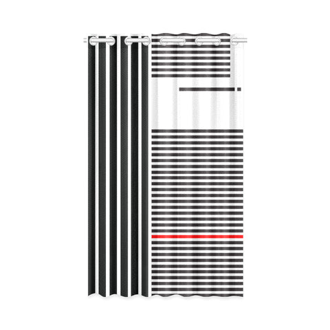 WOW | i Collection B&W R Stripes Design 50x84 White Window Curtain
