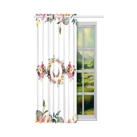 WOW | i Collection Royal Floral Design 50x84 White Window Curtain