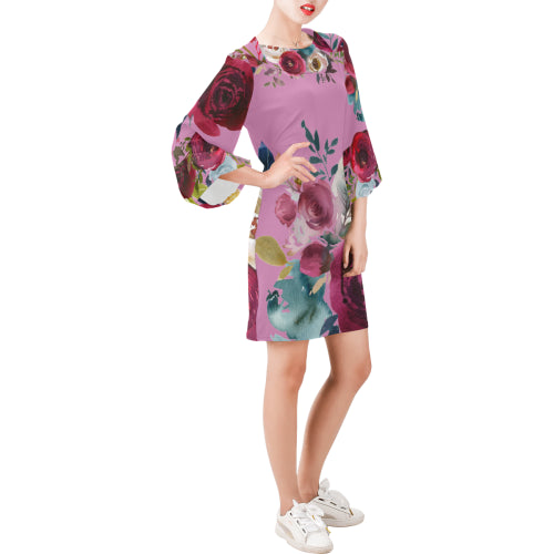 WOW | i Collection Bell Sleeve Floral Trendy Pinky Dress