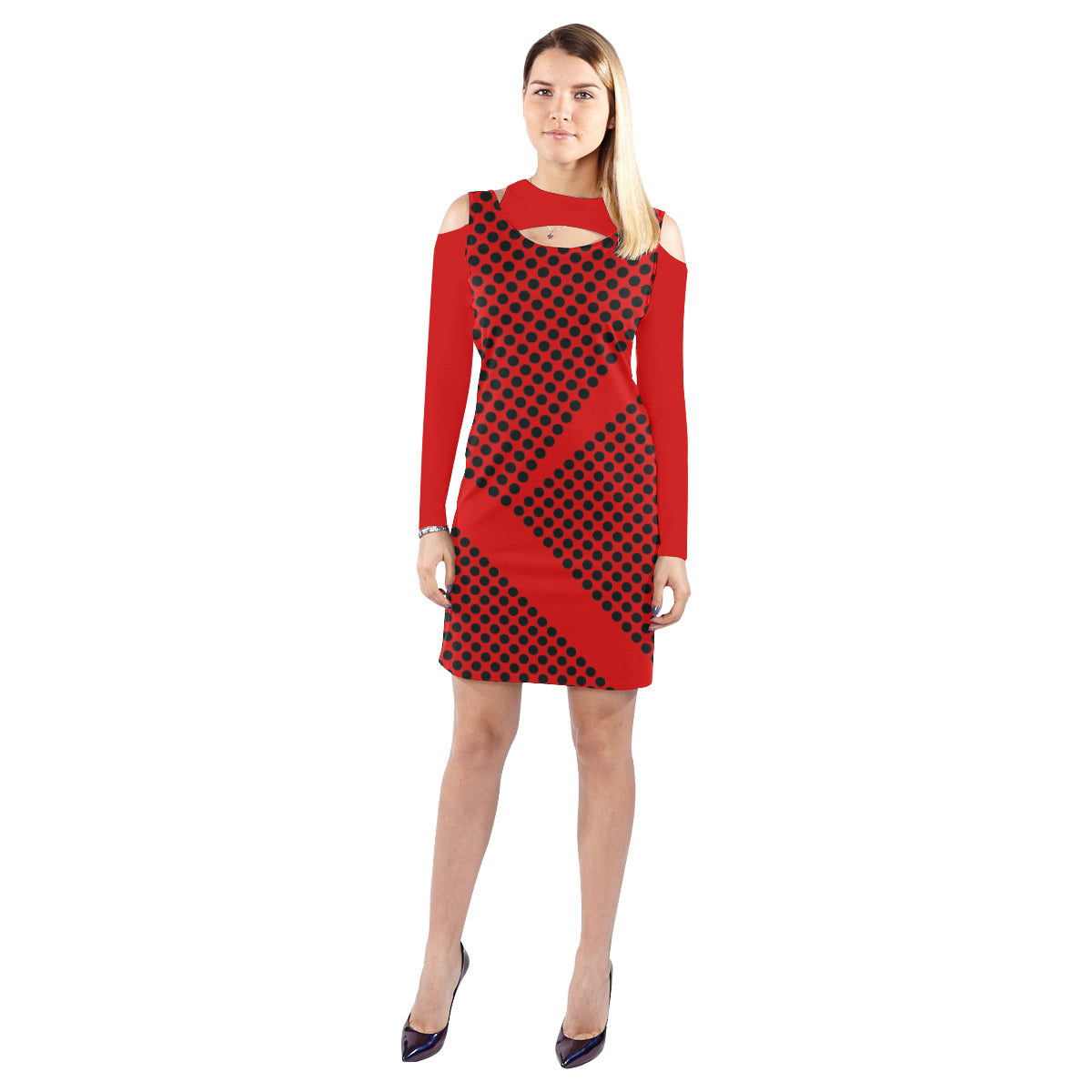 WOW | i Collection Geo Circular Halter Off Shoulder Long-Sleeve Red Dress