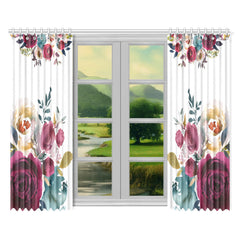 WOW | i Collection Soft Floral 52x84 2Pcs White Window Curtains
