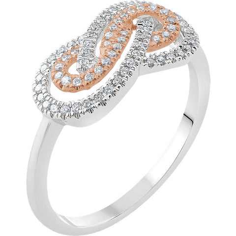 WOW Diamond Fashion | 14K White & Rose 1/5 CTW Diamond Infinity-Inspired Ring