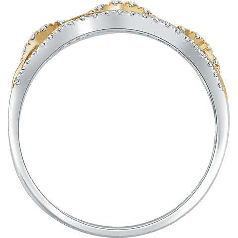 WOW Diamond Fashion | 14K White & Yellow 1/4 CTW Diamond Link Ring