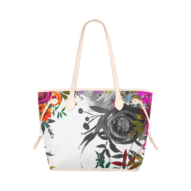WOW | i Collection B&W Colorful Floral High Grade Antique-White Classic Tote Bag