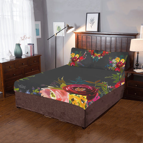 WOW | i Collection 3 Piece Colorful Floral Bedding Black Set