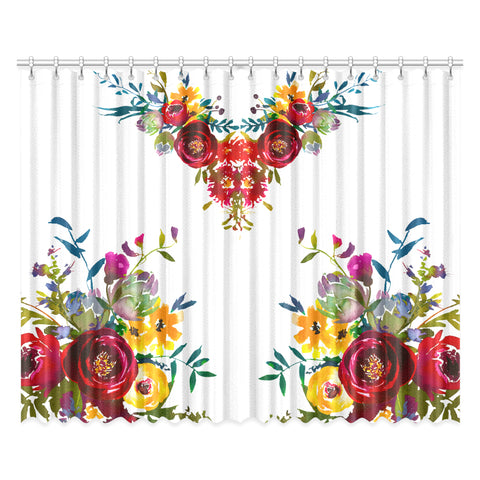 WOW | i Collection Colorful Floral 52x84 2Pcs White Window Curtains