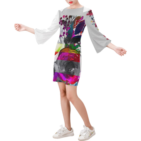 WOW | i Collection Bell Sleeve Colorful Grey White Floral Trendy Dress