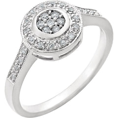 WOW Diamond Fashion | 14K White 1/5 CTW Diamond Cluster-Style Ring