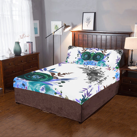 WOW | i Collection 3 Piece Colorful Floral Aquamarine Bedding Set