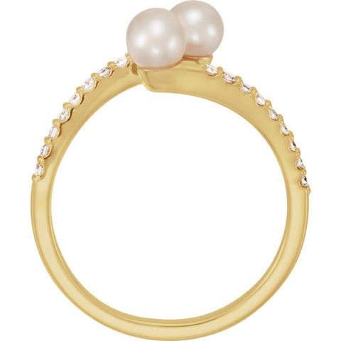 WOW Pearl Fashion | 14K Freshwater Cultured Pearl & 1/6 CTW Diamond Bypass Ring