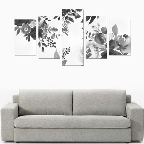 WOW | i Collection 5 Piece Floral & Stripes Pattern Wall Art Black Canvas Print