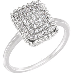 WOW Diamond Fashion | 14K White 1/5 CTW Diamond Rectangle Cluster Ring