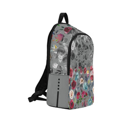 WOW | i Collection Colorful Floral B&W Pattern Waterproof Nylon Casual Grey Backpack