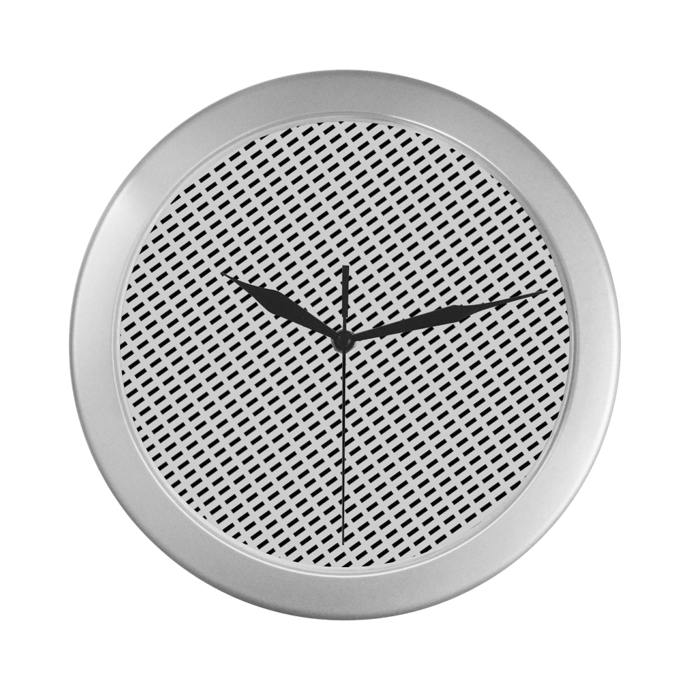 WOW | i Collection Fine Rectangular Pattern Elegant Round Silver Framing Wall Clock