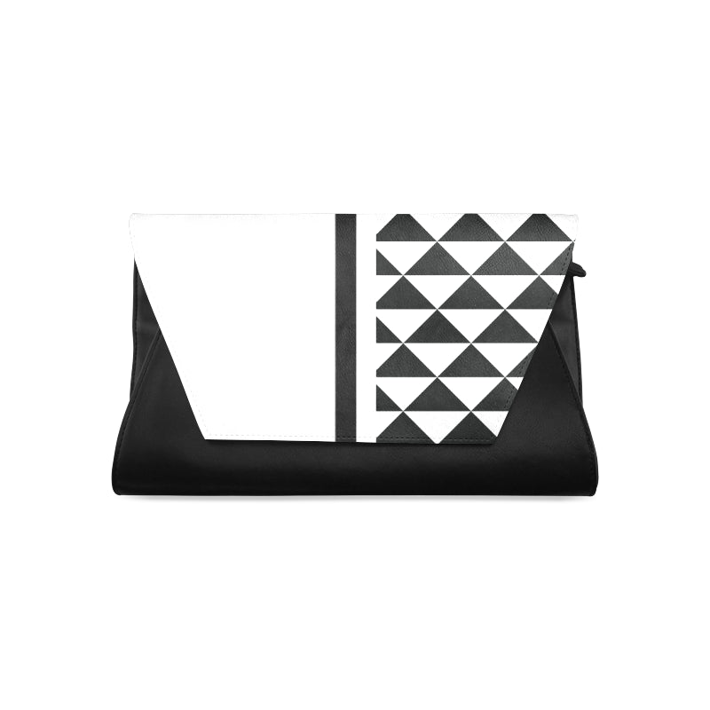 WOW | i Collection Women's Fashion B&W Triangular Pattern Clutch Bag