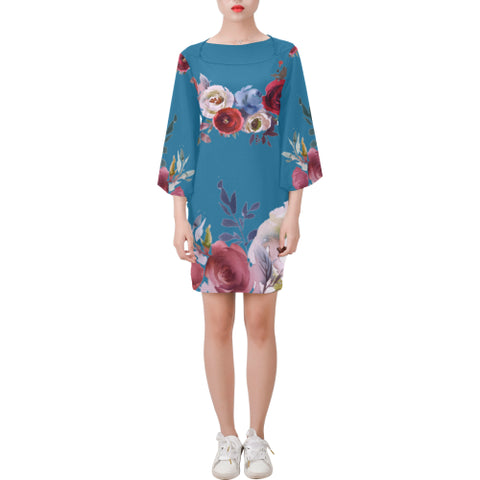 WOW | i Collection Bell Sleeve Pearl Sky Blue Floral Trendy Dress