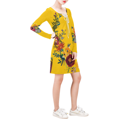 WOW | i Collection Long Sleeves Yellow Colorful Floral Dress