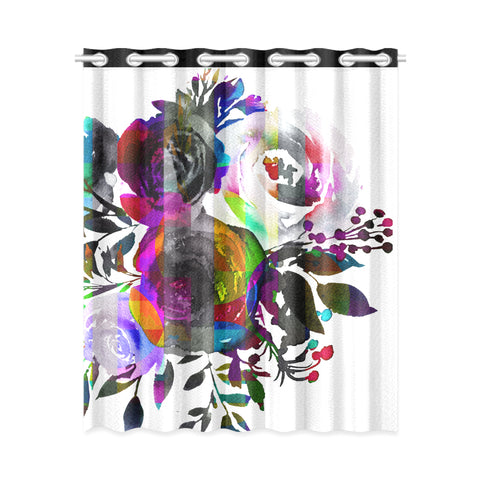 WOW | i Collection Black & White Colorful Floral Design 52x63 Window Curtain