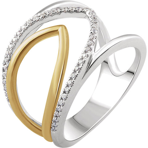 WOW Diamond Fashion | 14K White & Yellow 1/6 CTW Diamond Negative Space Ring
