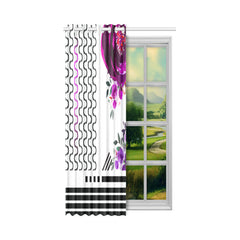 WOW | i Collection Colorful Purple Floral S-Wave 52x63 White Window Curtain