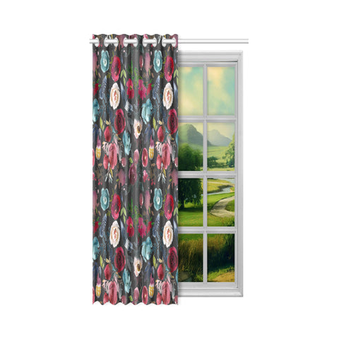 WOW | i Collection Colorful Floral Pattern Design 52x63 Black Window Curtain