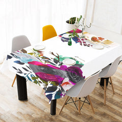 WOW | i Collection B&W Multicolor Floral White Tablecloth 60x120 Decoration