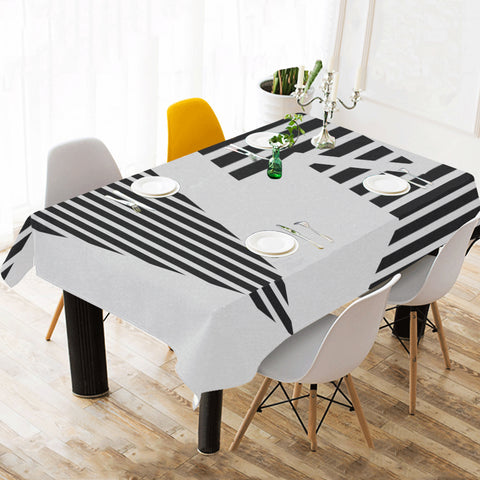 WOW | i Collection Light Grey Geo Stripes Tablecloth 60x120 Decoration