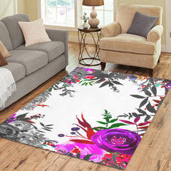 WOW | i Collection B&W Colorful Pink Floral Area Rug 7' x 5'