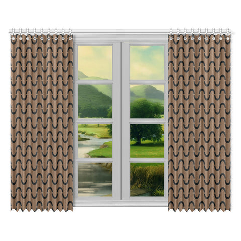 WOW | i Collection S-Wave 52x84 2Pcs Brown Window Curtains