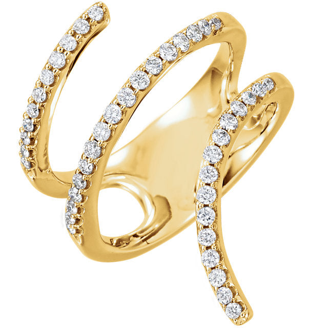 WOW Diamond Fashion | 14K Yellow 1/2 CTW Diamond Spiral Wrap Ring