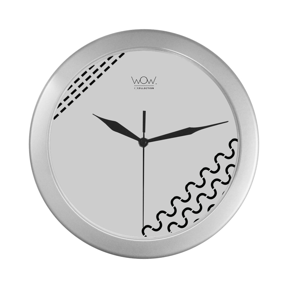 WOW | i Collection Rectangular S-Wave Elegant Round Silver Framing Wall Clock