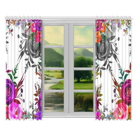 WOW | i Collection B&W Colorful Floral 52x84 2Pcs White Window Curtains
