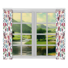 WOW | i Collection Colorful Floral Pattern 52x84 2Pcs White Window Curtains