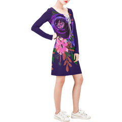 WOW | i Collection Long Sleeves Blue Purple Colorful Floral Dress