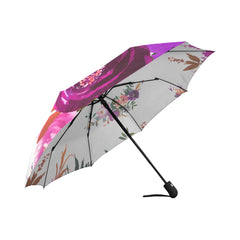 WOW | i Collection Automatic Foldable White Pattern Floral Designer Umbrella