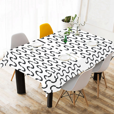 WOW | i Collection Black & White Geo S-Wave Tablecloth 60x120 Decoration