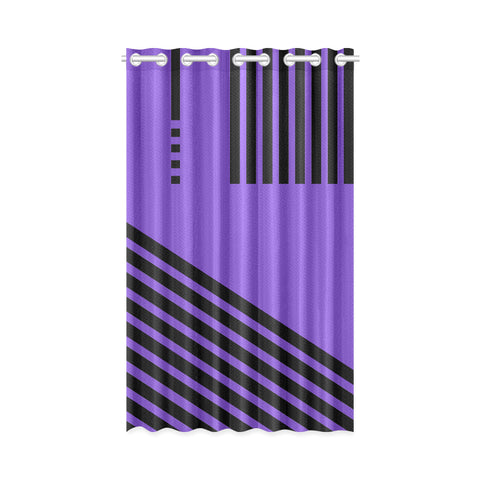 WOW | i Collection Geo Stripes 50x84 Purple Window Curtain
