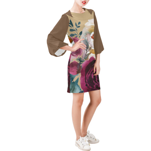 WOW | i Collection Bell Sleeve Floral Trendy Creamy Beige Dress