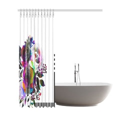 WOW | i Collection Colorful B&W Floral Designer 72x84 Shower Curtain