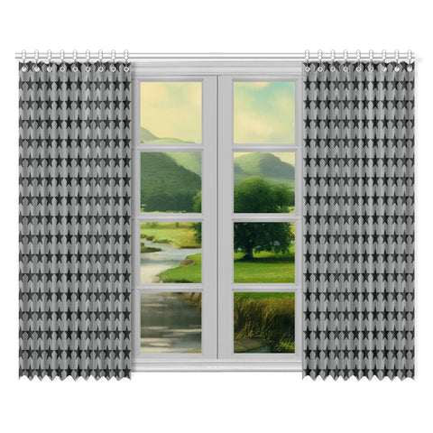 WOW | i Collection Geo Stars 52x84 2Pcs Grey Window Curtains
