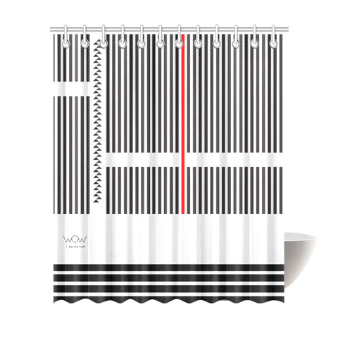 WOW | i Collection B&W Geo R Stripes Designer 72x84 Shower Curtain