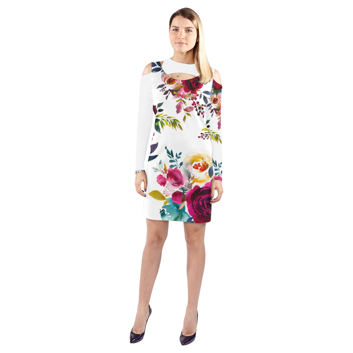 WOW | i Collection Soft Colorful Floral Halter Off Shoulder Long-Sleeve White Dress
