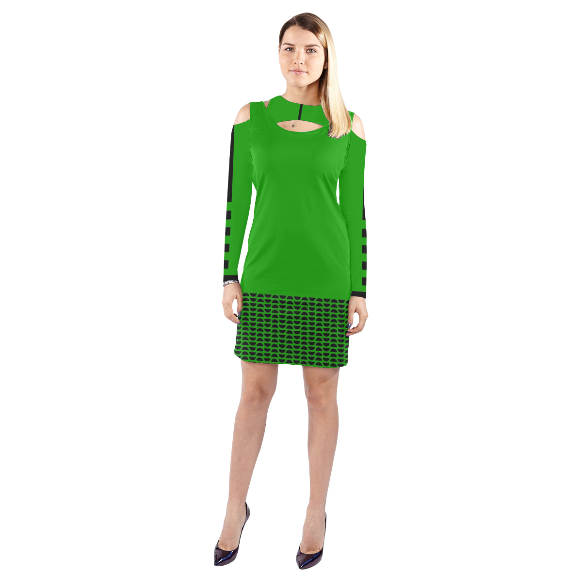 WOW | i Collection Geo Circulars Halter Off Shoulder Long-Sleeve Green Dress