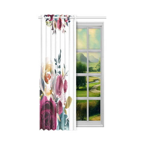 WOW | i Collection Soft Colorful Floral Design 52x63 White Window Curtain