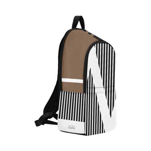 WOW | i Collection Geo Stripes High Grade Waterproof Nylon Casual Brown Backpack
